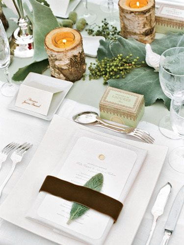 birch, bay leaves and natural elementsTables Sets, Rustic Elegant, Menu Cards, Candles Holders, Northern Lights, Lambs Ears, Leaves, Parisians Wedding, Places Sets
