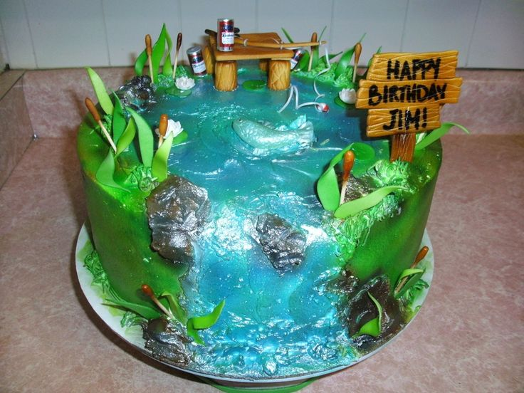 Fishing birthday cake ideas fishing cakes look pretty for Fishing cake ideas