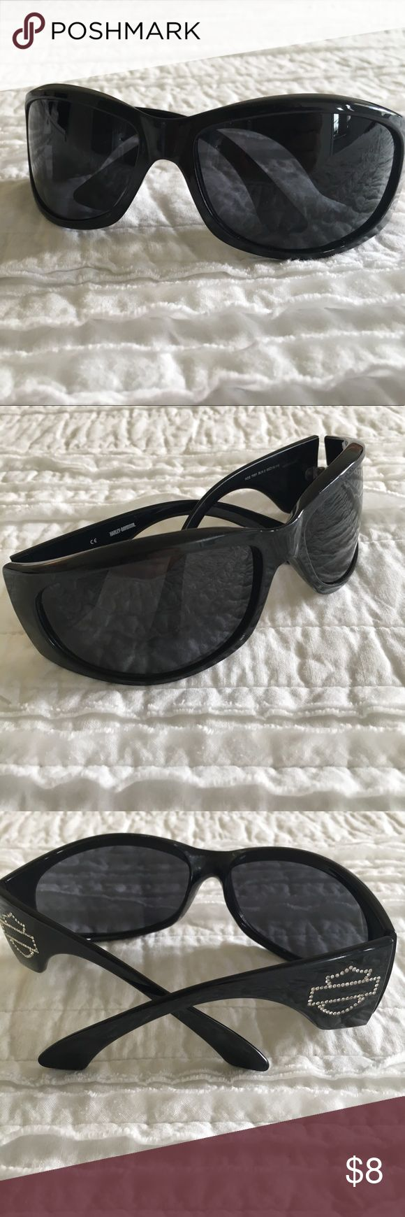 Harley Davidson Sunglasses Cute biker sunglasses with rhinestone bar and shield. Small scuff on one of the lenses. Barely noticeable. Great as a backup pair of sunglasses. Comes from a smoke free home. No dust bag or case. Harley-Davidson Accessories Glasses