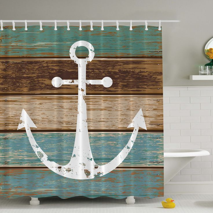 Anchor Print Shower Curtain