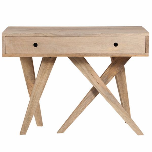 A gorgeous console table with a twist - five legs make a great feature in a hallway or living area. Dimensions 110 x 45 x 80cm Made from Mango Wood and MDF inte