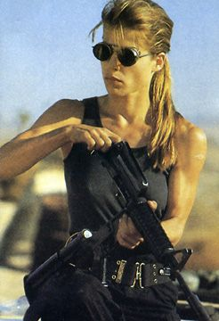 Linda Hamilton as Sarah Connor in Terminator II Judgment Day.An example of our mothering instincts in the extreme! I do like this movie