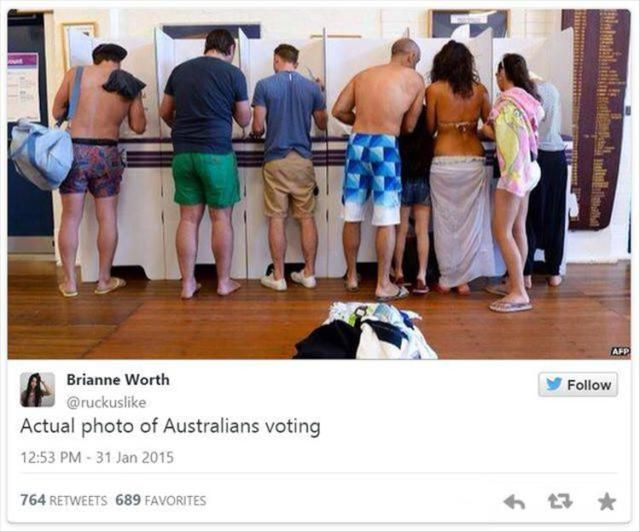 Aaah yes let's go to the beach then on the way out we can pop up to the post office to vote for our shitty prime ministers