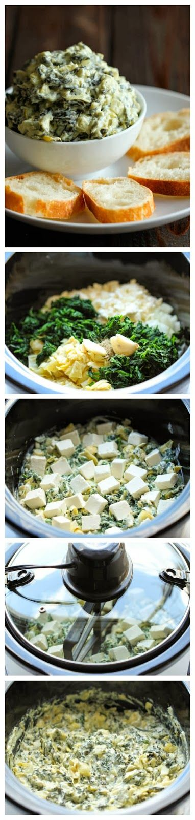 Slow Cooker Spinach & Artichoke Dip 28 oz canned artichoke hearts:drained, chopped 10 oz frozen spinach:thawed, squeezed dry 8 oz sour cream 2 cloves garlic  3/4 c grated Parmesan cheese 3/4 c milk 1/2 c crumbled feta cheese 1/3 c mayo 1 T red wine vinegar 1/4 Tsp black pepper 8 oz cream cheese cubed Combine all ingredients except cream cheese. Top with cream cheese.Cover and cook on low for 2 hrs.Uncover and stir until cream cheese is well combined. Cover and cook on high heat for 15 min.