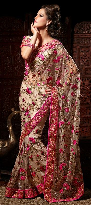 118796, Party Wear Sarees, Embroidered Sarees, Net, Machine Embroidery, Resham, Zari, Border, Thread, Stone, Bugle Beads, Beige and Brown Co...