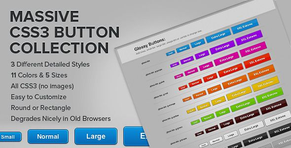 Massive Modern CSS3 Button Collection . This huge collection of  CSS3  buttons includes 3 styles of modern buttons with hover and active states. Each style is available in 5 different