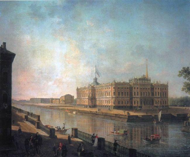 1800-Alecseev-S-pB. It's Mithailov castl-Алексеев-Михайловский замок в Петербурге со стороны Фонтанки