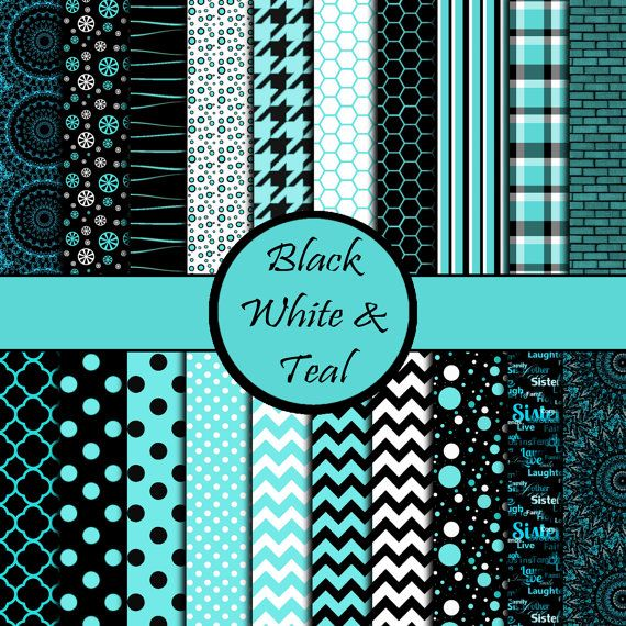 Teal black and white chevron polka dot by ScrapbookPaperShack