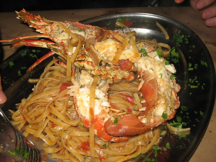 Lemnos, Greece  Fettuccine with Half Fresh Cray.