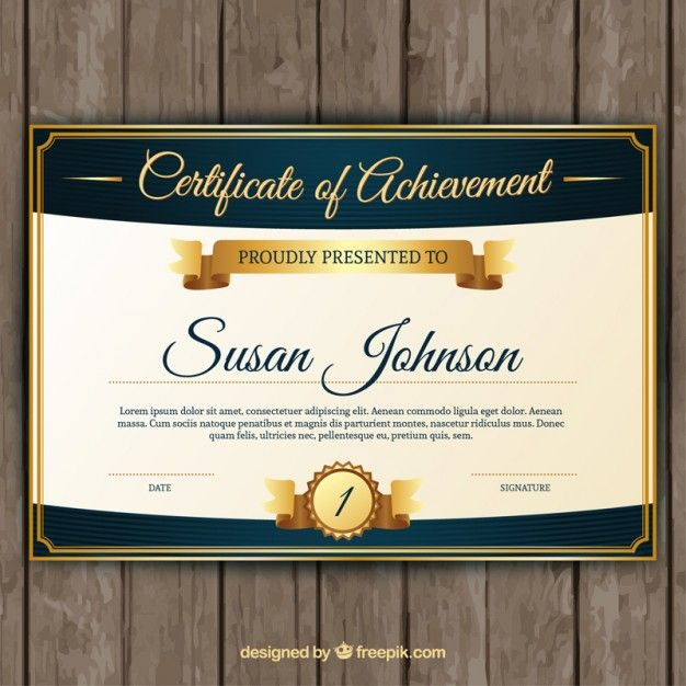Certificate of achievement with classic golden elements Free Vector