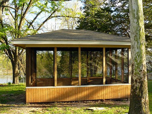 Screened pavilion gazebo gazebo gazebo plans gazebo for Built in gazebo