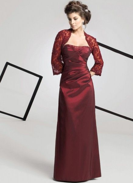 Refined Strapless Flat Beading Pleated With Wrap Taffeta A-line Mother Of The Bride Dress (MBD-008)