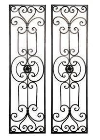 Tuscan Mediterranean Wrought Iron Wall Grille Set.   Inspired by a Mediterranean theme, this decorative wall art is made of Wrought Iron finished in a cocoa brown color with scrolling hand forged detail. It can be hung vertically or horizontally.