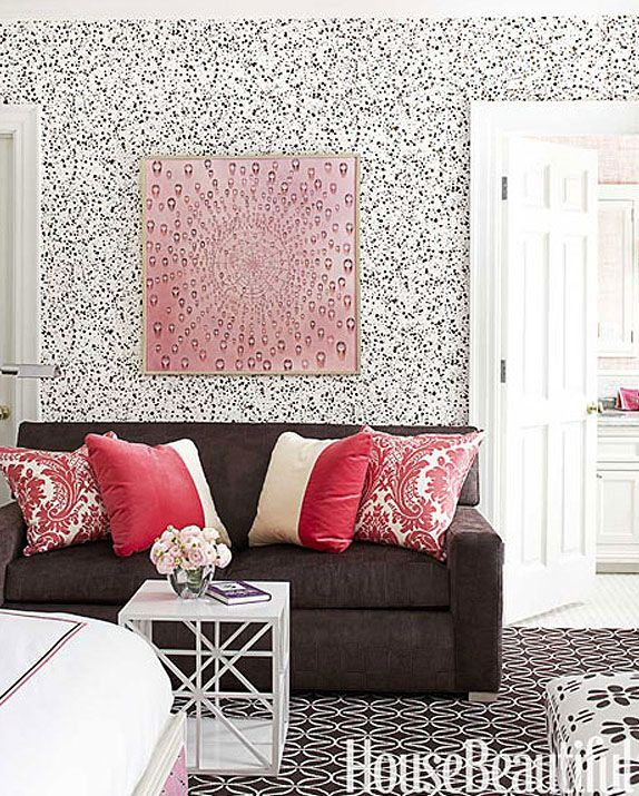 pink, brown, black and white guest bedroom