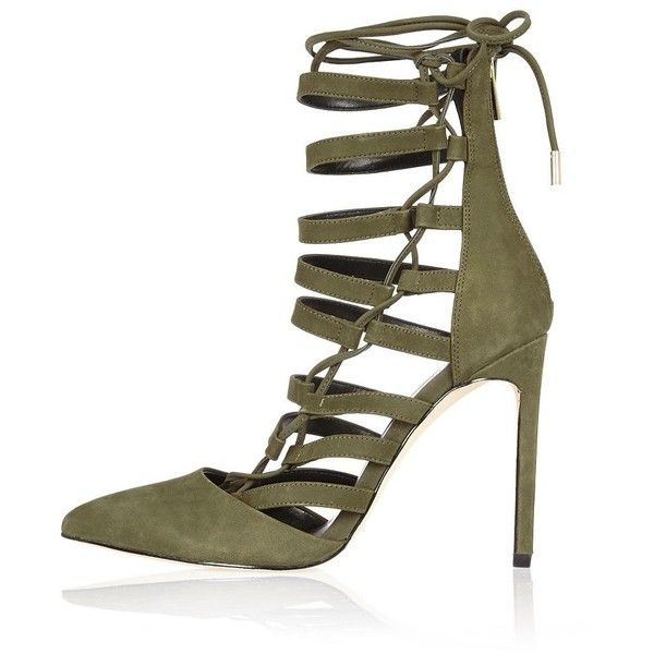River Island Khaki leather strappy lace-up heels ($160) ❤ liked on Polyvore featuring shoes, khaki, lace up / caged shoes, shoes / boots, women, pointed toe shoes, leather shoes, river island, strappy high heel shoes и high heels stilettos