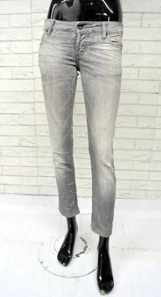 DSQUARED 2 Jeans Donna Taglia 40 Pantalone Woman Pants Slim Skinny Fit  Grigio c3aa760fa09f