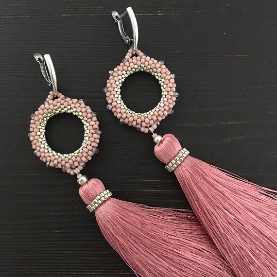 Tassel Earrings long earrings beaded earrings dusty rose