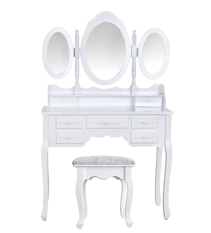 rebecca srl toeletta specchiera 5 cassetti 3 specchi sgabello legno bianco classico camera da letto bagno