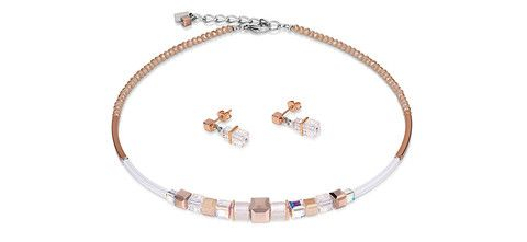 Geo Cube rose gold and white necklace and earrings 4734_1400