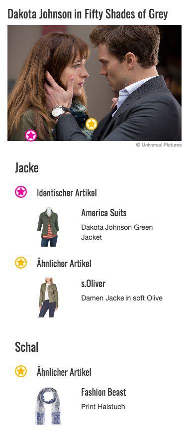 Auch wenn Anastasia Steele (Dakota Johnson) hier ganz viel Kraft braucht, um das zu verdauen, was ihr Christian Grey (Jamie Dornan) gerade gesagt hat, muss sie sich keine Sorgen um ihr Outfit machen. Mit ihrer dunkelgrünen Jeansjacke liegt sie mit ihrem Style genau im Modetrend.