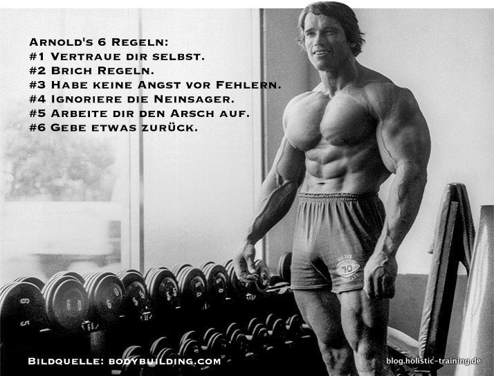 Die 6 Erfolgsregeln von Arnold Schwarzenegger – gilt nicht nur für Fitness.                                                                                                                                                                                 Mehr