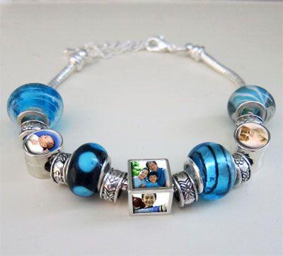 Photo Bracelet with Beads: Beads Bracelets, Gifts Ideas, Photos Bracelets, Photos Beads, Great Gifts, Photos Jewelry, Beads Lights, Lights Blue, Beads Photos