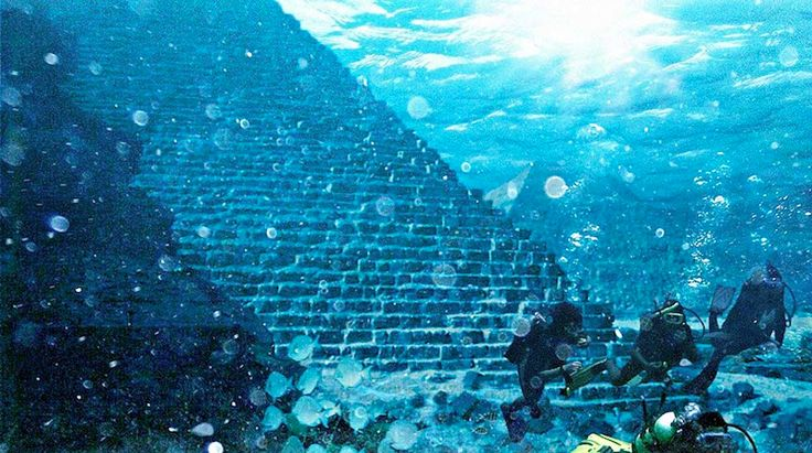Pyramids larger than Giza discovered in the 1960's off coast of Cuba in the Bermuda Triangle during the Cuban Missile Crisis.