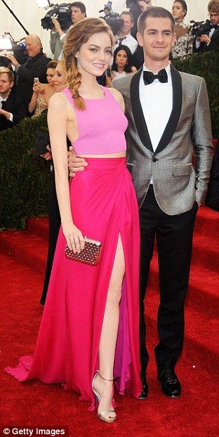 Emma Stone and Andrew Garfield looked very sweet together, with the actress in a bright pink Thakoon dress and her Amazing Spider-Man co-star looking suave in grey