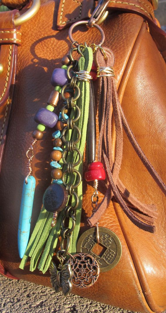 Purse Charm Charm Tassel Zipper Pull Key Chain by #ThePaintedCabeza
