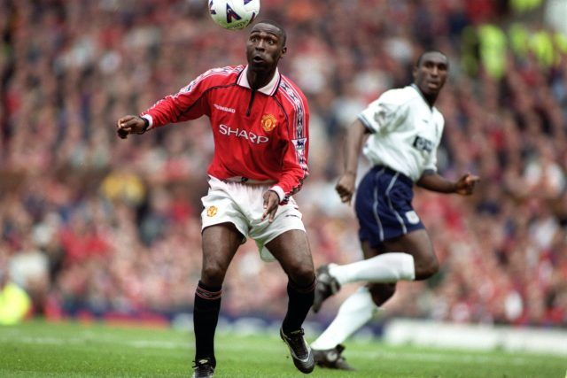 Man Utd 2 Tottenham 1 in May 1999 at Old Trafford. Andy Cole shapes to score the goal that gave United the Premier League title.