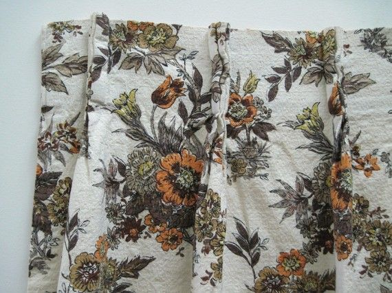 2 panels Brown, Taupe, Yellow & Peach ENGLISH COUNTRY Barkcloth Curtains - drapes, drapery, 2 panels, window treatments - 44 inches long