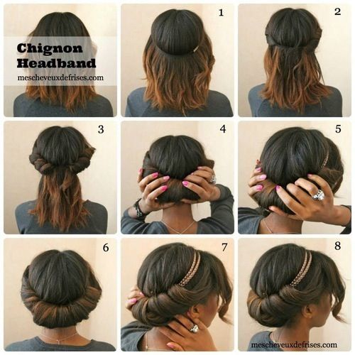 chignon avec un bandeau (headband) sur cheveux naturels