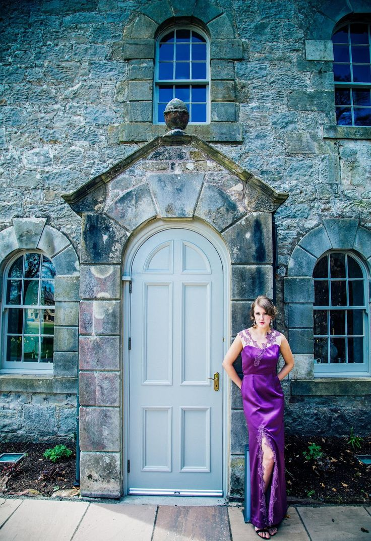 "Slinky purple satin floor length evening gown dress ""Gabriella"" by Esther Catherine with lace detail shoulders and led slit. ES Photography and Social Media, HVR Beauty, hair by Abigail Tooth. Shot at Kinross House, Scotland."