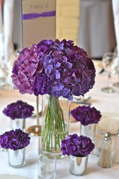 purple centerpieces hydrangea - Google Search