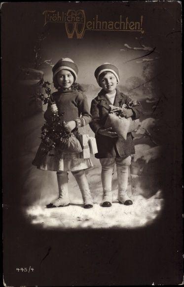 Ansichtskarte / Postkarte Frohe Weihnachten, Zwei Kinder, Geldsäcke, 445 4