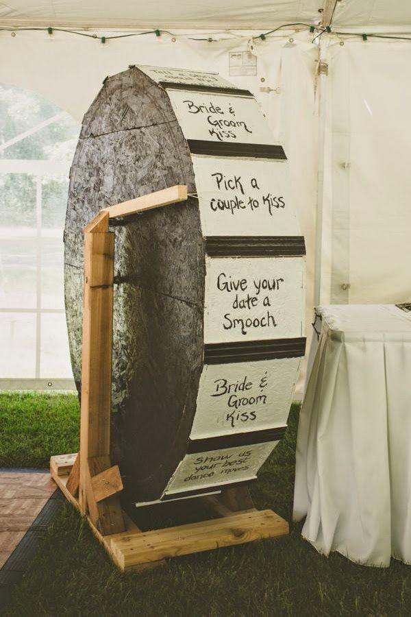 Wheel of fortune, wedding style! Love! #Wedding #Bride #Groom