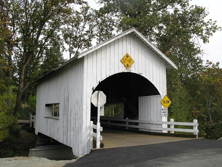 Neal Lane covered bridge, 1929. One of the shortest covered bridges in Oregon at 42 feet, this bridge spans Myrtle Creek, outside the town of the same name. Unlike so many covered bridges in the west, you can still drive over this one!
