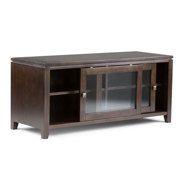 21 inches high x 48 inches wide x 17.5 inches deep    WYNDENHALL Essex Coffee Brown TV Media Stand for TV's up to 42 Inches