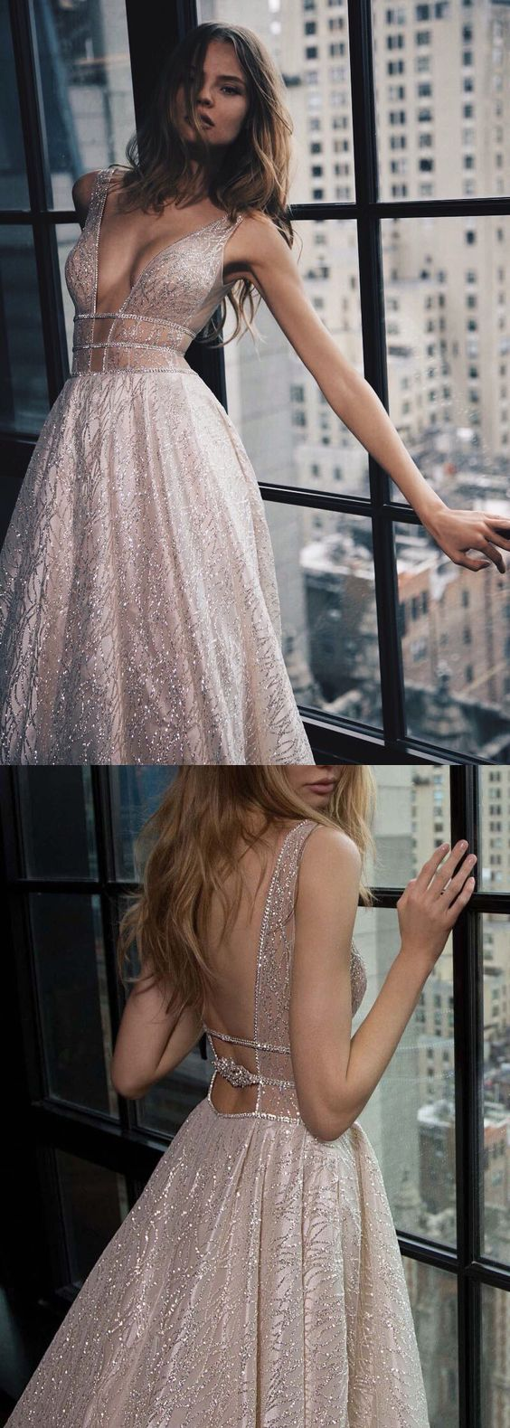 Deep V-Neck Sexy Prom Dresses, Luxury Court Train Pink Party Dress, Shiny Bride Dresses  Backless with Sequins