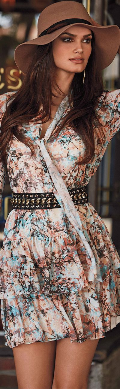 Chic In The City● Bebe August CATALOG 2014 ● BEBE PRINT RUFFLE TIER DRESS-♔LadyLuxury♔