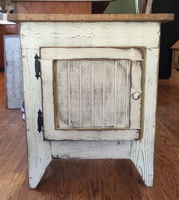 FREE SHIPPING ...Primitive End Table or Night Stand Storage