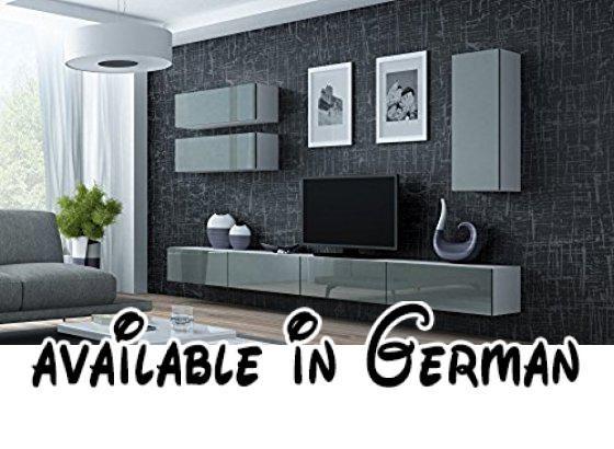 B01FU0WGO2 : Wohnwand VIGO 13 Anbauwand Wohnzimmer Möbel Hochglanz !!!.  Farbe: Weiß Matt Grau Hochglanz. Maße : Breite: 280 Cm Höhe: 180 Cm Tiefe:  40 Cm.