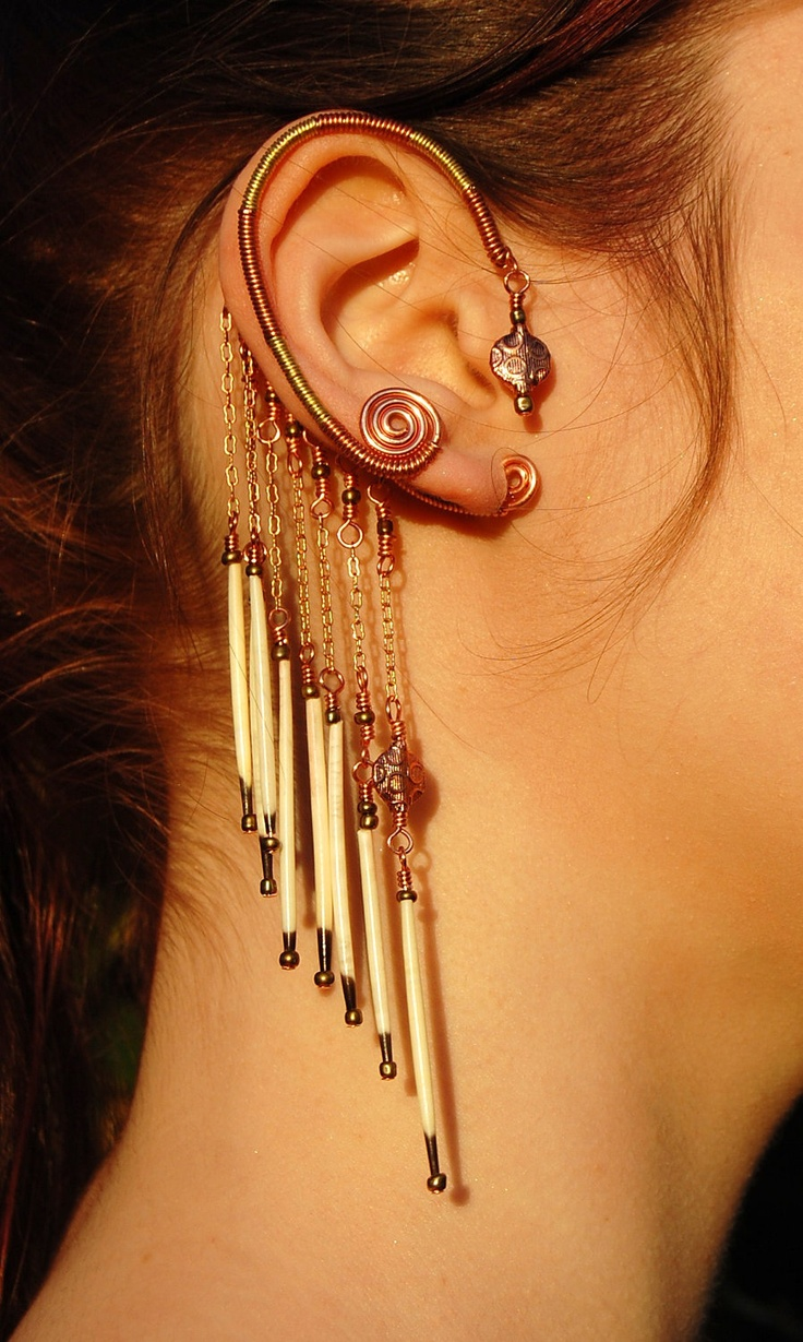 Tribal Earwrap with Porcupine Quill Dangles.