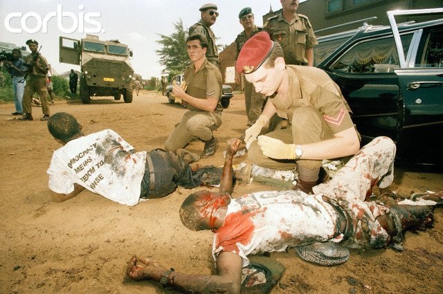 Carter took this picutre of the SADF medics taking care of some ANC members after the attack from the IFP.