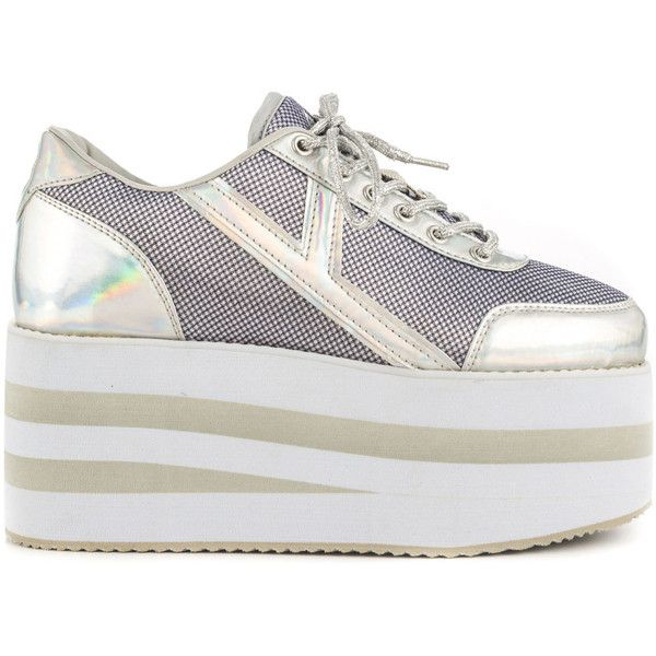 YRU Women's Karazii II - Silver ($76) ❤ liked on Polyvore featuring shoes, silver, wedge sole shoes, synthetic shoes, laced shoes, silver shoes and lace up wedge shoes