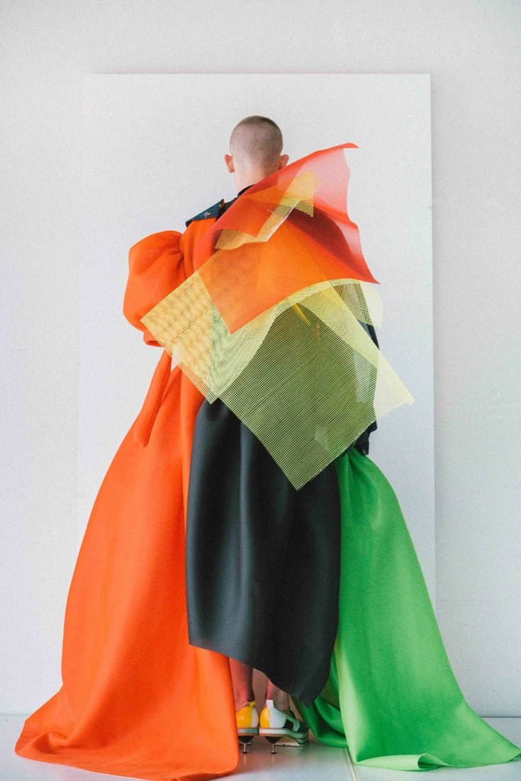 "Via 1Granary: ""Antwerp Fashion Department graduate Sanan Gasanov created an elaborate triple-award winning couture collection, which incorporated 15 fabrics in each piece."""