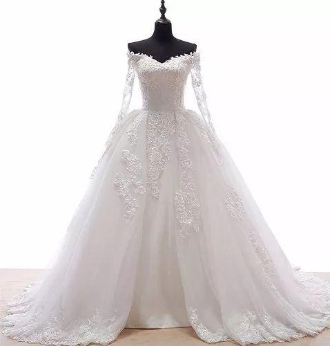 vestido de noiva rodado manga longa renda importado
