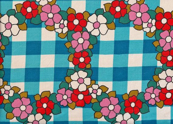 Vintage 1970s Fabric Blue gingham with Flowers by Pommedejour, $24.99