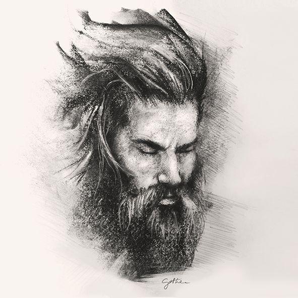 vikingism / my daily beard // pencil drawing