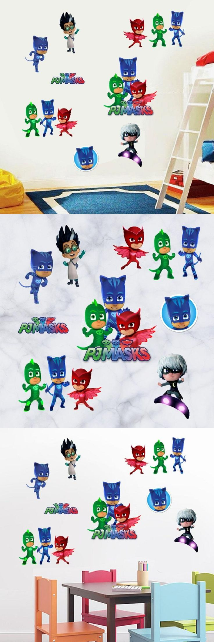 [Visit to Buy] PJ Masks Wall Sticker Removable Self-adhesive Wall Paper Decals Kids Boy Room Gift Wall Poster Cute Colorful Baby Room Wallpaper #Advertisement